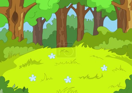Photo for Forest Glade. Cartoon Background. Vector Illustration EPS 10. - Royalty Free Image