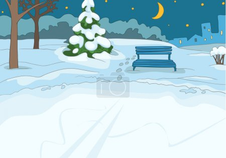 Illustration for Outdoor Skating Rink. Cartoon Background. Vector Illustration EPS 10. - Royalty Free Image