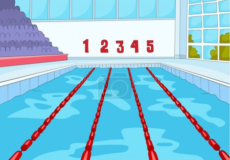 Swimming Pool. Cartoon Background. Vector Illustra...