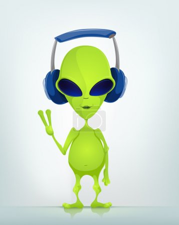 Illustration for Cartoon Character Funny Alien Isolated on Grey Gradient Background. Listening to Music. Vector EPS 10. - Royalty Free Image