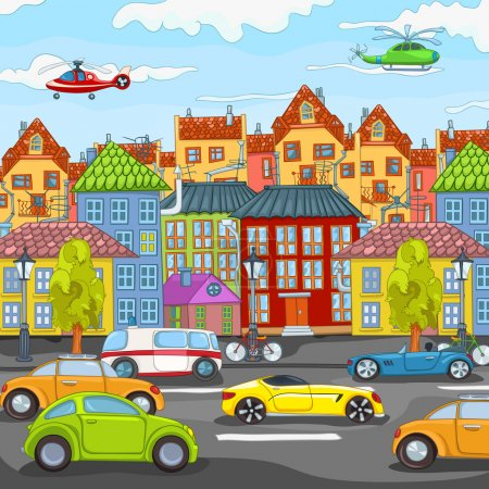 Photo for City Cartoon with Traffic. Vector Illustration. EPS 10. - Royalty Free Image