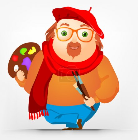 Illustration for Cartoon Character Cheerful Chubby Men. Artist. Vector Illustration. EPS 10. - Royalty Free Image