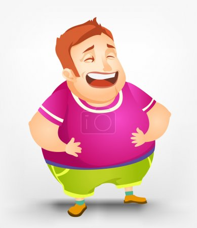 Illustration for Cartoon Character Cheerful Chubby Men. Laughing. Vector Illustration. EPS 10. - Royalty Free Image