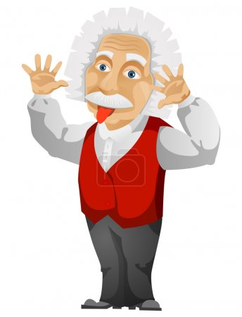 Illustration for Cartoon Character Einstein Isolated on White Background. Vector EPS 10. - Royalty Free Image