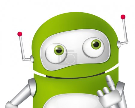Illustration for Cartoon Character Cute Robot. Thinking Avatar. Vector EPS 10. - Royalty Free Image
