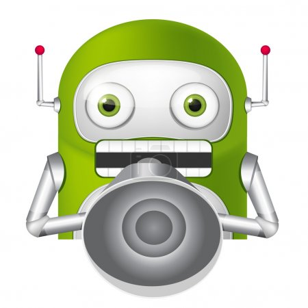 Illustration for Cartoon Character Cute Robot. Speaker. Vector EPS 10. - Royalty Free Image
