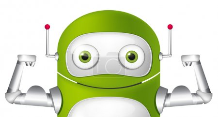Illustration for Cartoon Character Cute Robot. Avatar Strong. Vector EPS 10. - Royalty Free Image