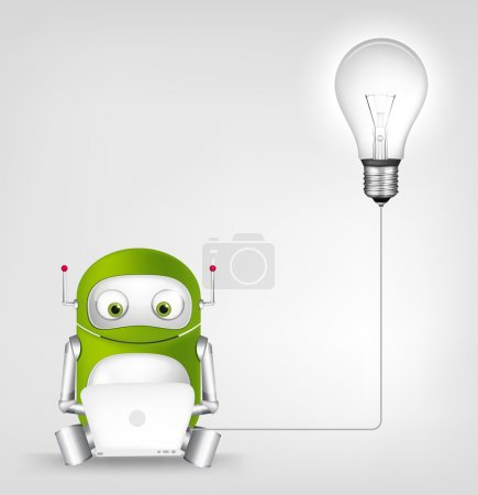 Illustration for Cartoon Character Green Robot. Concept Illustration. Vector EPS 10. - Royalty Free Image