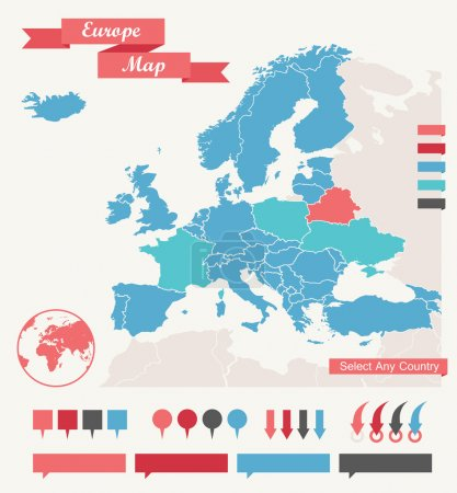 Illustration for Infographic Elements. Europe map. Vector Illustration EPS 10. - Royalty Free Image