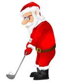 Cartoon Character Santa Claus Isolated on Grey Gradient Background Golf Vector EPS 10