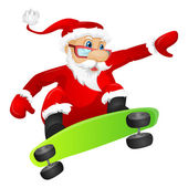 Cartoon Character Santa Claus Isolated on Grey Gradient Background Skateboarding Vector EPS 10