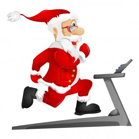 Photo for Cartoon Character Santa Claus Isolated on Grey Gradient Background. Gym. Vector EPS 10. - Royalty Free Image