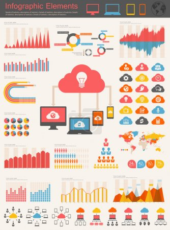 Photo for Cloud Service Infographic Elements. Opportunity to Highlight any Country. Vector Illustration EPS 10. - Royalty Free Image