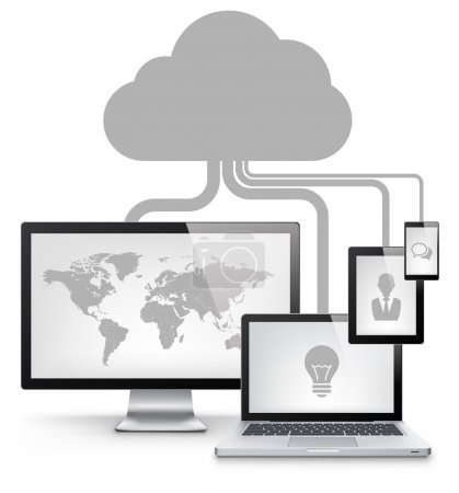 Photo for Cloud Service Concept Isolated on White Background. Vector Illustration EPS 10. - Royalty Free Image