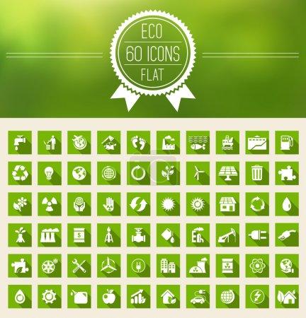 Illustration for Ecology Flat Icon Set. Vector Illustration EPS 10. - Royalty Free Image