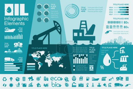 Photo for Oil Industry Infographic Elements. Plus Icon Set. Opportunity to Highlight any Country On the World Map. Vector Illustration EPS 10. - Royalty Free Image