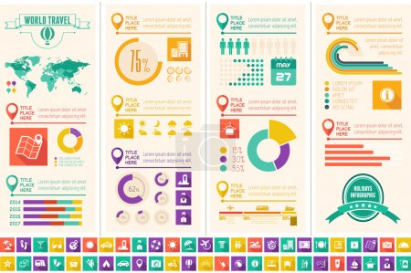 Illustration for Flat Infographic Elements plus Icon Set. Vector EPS 10. - Royalty Free Image
