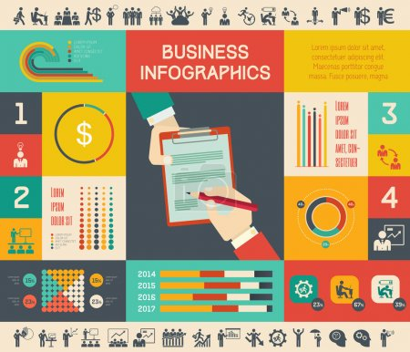 Photo for Flat Business Infographic Elements plus Icon Set. Vector. - Royalty Free Image