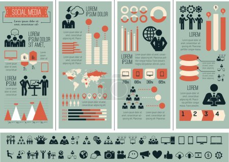 Photo for Flat Social Media Infographics plus Icon Set. Vector. - Royalty Free Image