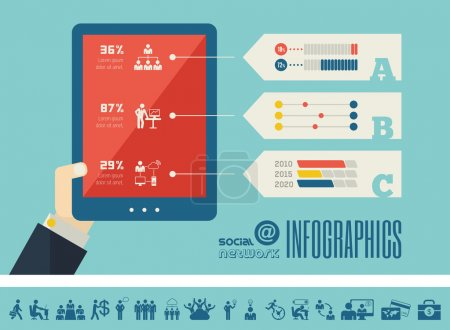 Illustration for Flat Social Media Infographics plus Icon Set. Vector. - Royalty Free Image