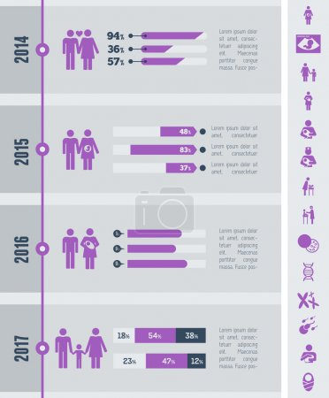 Illustration for Flat Maternity Infographics Elements plus Icon Set. Vector. - Royalty Free Image