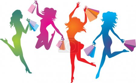 Illustration for Colourful shopping girls silhouettes - Royalty Free Image