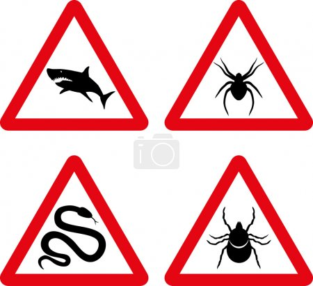 Tick, snake, shark and spider warning signs