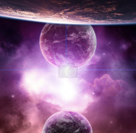 Photo for Planet with violet nebula and rising Star - Royalty Free Image