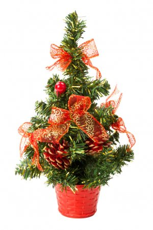 Small christmas tree with bows and cones
