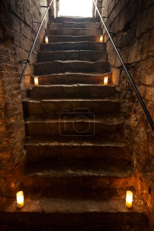 Spooky dungeon stone stairs in old castle...