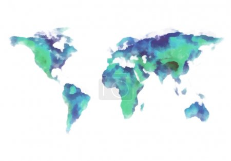 world map, watercolor painting