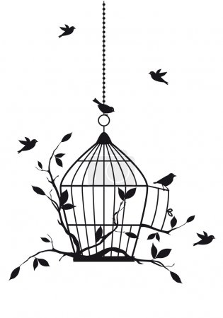 Illustration for Free birds with open birdcage, vector background - Royalty Free Image