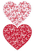 Red butterfly heart vector background illustration