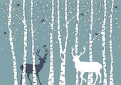 Birch trees with birds and deer vector background illustration