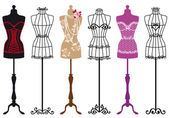 Set of stylish fashion dress forms vector illustration