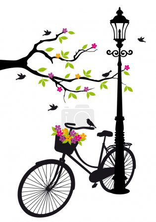 Illustration for Old bicycle with lamp, flowers and tree, vector background illustration - Royalty Free Image