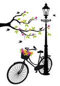 """Постер, картина, фотообои """"велосипед с лампа, цветов и дерева, вектор"""""""