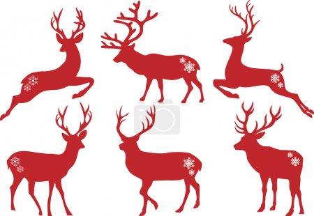 Illustration pour Silhouettes cerf de Noël, ensemble vectoriel - image libre de droit
