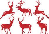 Christmas deer stags vector set