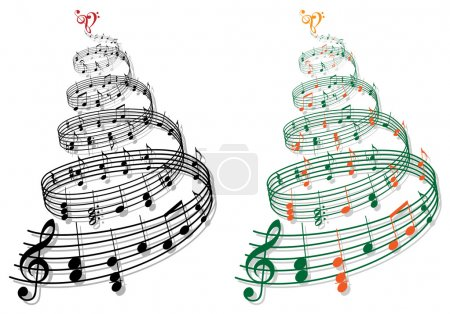 Illustration for Swirly tree with music notes, vector illustration - Royalty Free Image