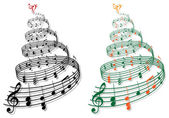 Tree with music notes vector