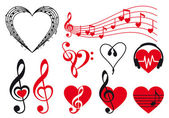 Music hearts vector