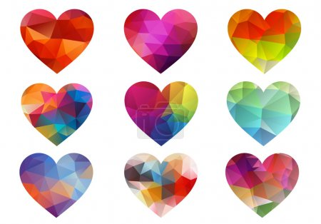 Illustration for Colorful hearts with geometric triangle pattern, vector set - Royalty Free Image