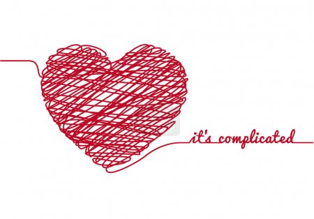 Illustration for It is complicated with chaos heart, vector illustration - Royalty Free Image