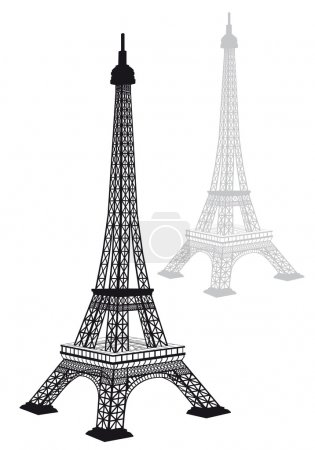 Illustration for Eiffel tower silhouette, detailed drawing, vector illustration - Royalty Free Image
