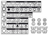 Textile care labels and laundry washing symbols vector set