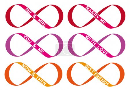 Illustration pour Amour sans fin, signe infini, symbole sans fin, ensemble vectoriel - image libre de droit