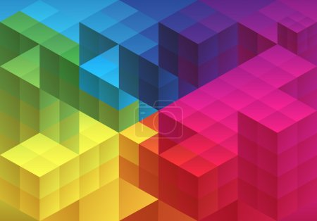 Illustration for Abstract cube design, geometric polygon pattern, vector background - Royalty Free Image