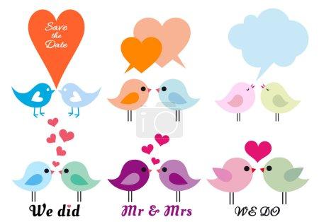 Illustration pour Oiseaux d'amour mignons avec des coeurs, ensemble d'éléments de conception vectorielle - image libre de droit