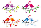 cute birds with red hearts on tree vector set